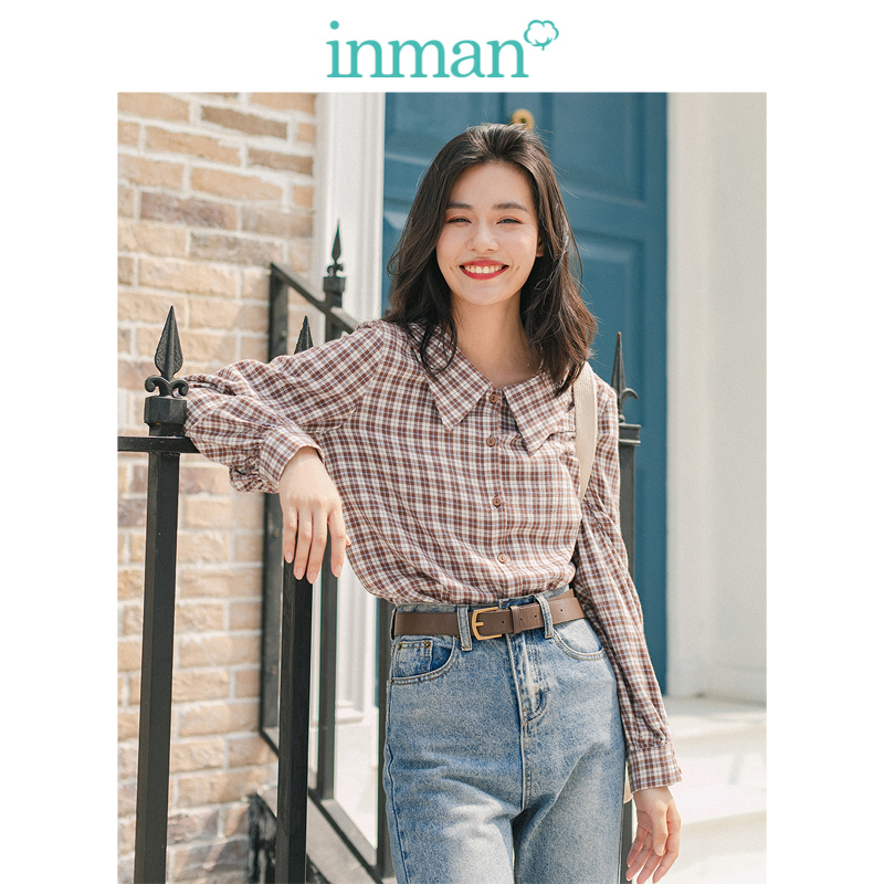 INMAN Winter Literary Retro 100%Cotton Doll Collar Plaid Loose Long Sleeve Women Blouse