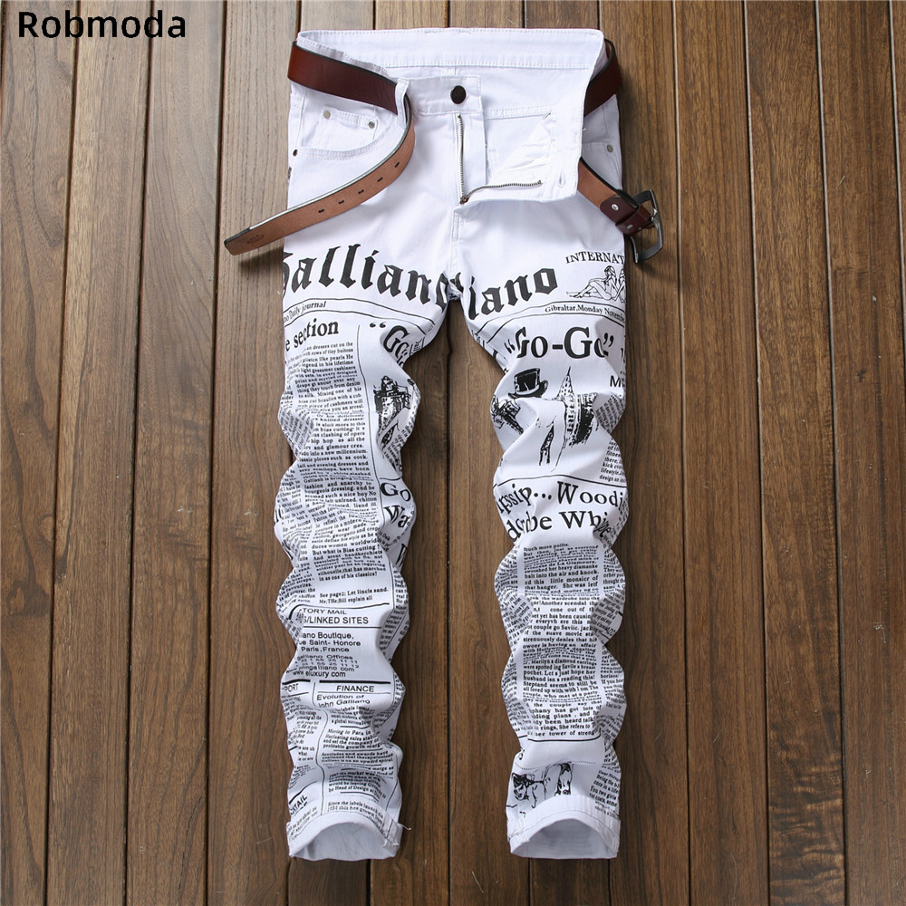 Newspaper Letter Printed Casual Slim Trousers Men Jeans 2019 Autumn Denim Pants Classic Cowboys Young Man Fashion White Jeans