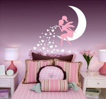 Vinyl Art Home Decor Fairy Blowing Hearts Wall Sticker Cute Girls Bedroom Decoration Nursery Poster W592