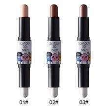 Double-Head Highlighter Stick Bronzers Iluminador Maquillaje Waterproof Long-Lasting Brighten Skin Tone Face Contour