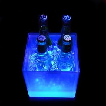 LukLoy Двухслойное освещение ведерко со льдом под бутылку шампанского Бар Ресторан многоцветный свет квадратный светодиодный ведро для льда ...