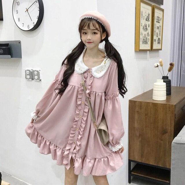 Woherb 2021 Summer Dress Women Harajuku Pink Ladies Ruffle Lace Patch Kawaii Dresses Lolita Cosplay Sweet Loose Vestidos 21092 5