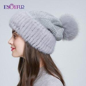 Image 4 - Enjoyfur冬のミンクの毛皮ニットウール帽子女性キツネの毛皮のポンポンだらしないビーニーファッション暖かいスタイルキャップ青少年のための