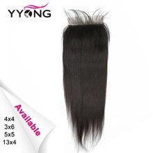 Yyong recto peruano 5x5 3x6 cabello humano cierre Frontal de malla 13x4 de oreja a oreja Frontal de encaje marrón medio de encaje Remy puede blanqueado
