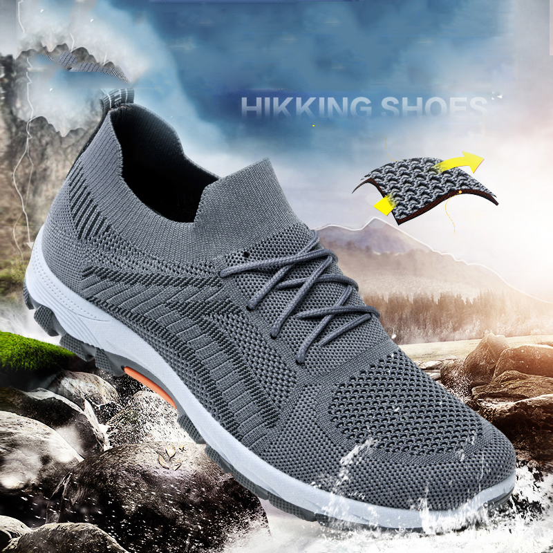 HUMTTO Mens Hiking Sneakers Outdoor Breathable Climbing Shoes Men Trekking Walking Sneakers Man Non Slip Fishing Shoe Summer New