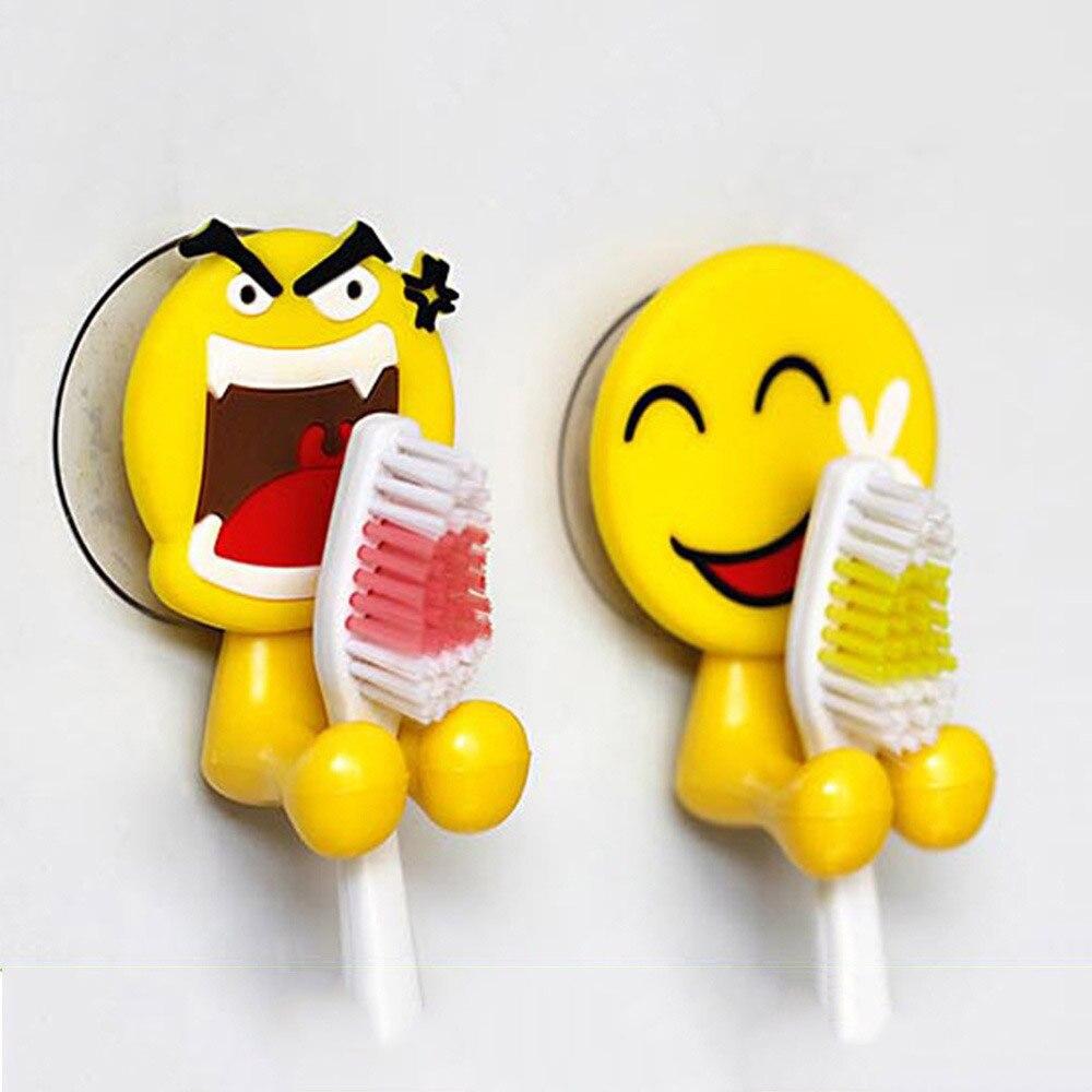 2PCS Cute Expression Sucker Toothbrush Holder Bathroom Cartoon Toothbrush Rack Wall PVC Power Plug Socket Holder Creative Hanger