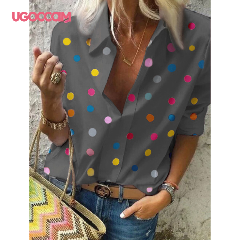 H46c77dc982cd41d693c34cb0d1d27b14e - UGOCCAM Women Blouse Long Sleeve Blouse Shirt Print Office Turn-down Collar Blouse Elegant Work Plus Size Tops Fashion Women Top