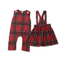 Одинаковая одежда для сестер; Рождественская одежда для сестер; ремешок комбинезона; платье в клетку для маленьких девочек