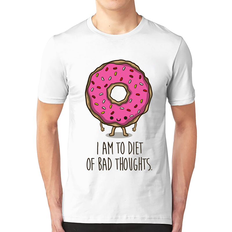 2020 New Arrivals Men's Fashion Cartoon Donut Printed T-shirt Casual T Shirt Hipster Tops