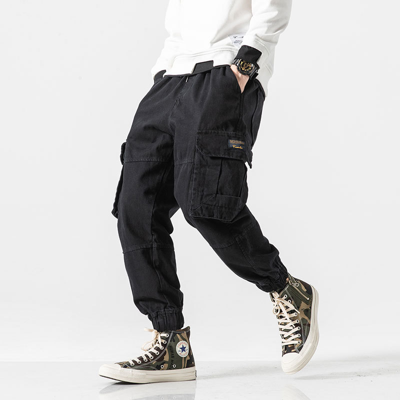 Autumn New Trend Solid Color Wild Multi-pocket Overalls Men's Street Youth Beam Casual Pants