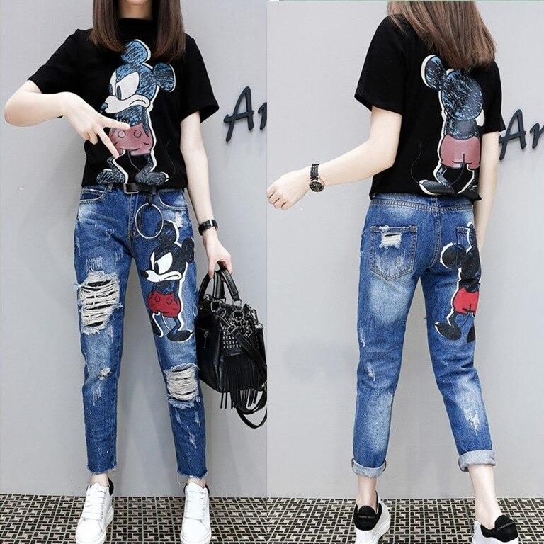 South Korea 2019 Spring Summer Korean-style Mickey Cartoon With Holes Jeans WOMEN'S Ninth Pants Fashion Skinny Baggy Pants
