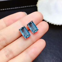 SHILOVEM 18k white gold London Blue topaz pendants earring classic fine Jewelry women wholesale new gift mtz061088b