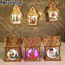 OurWarm 1pc Festival LED Light Wood House Christmas Tree Hanging Pendant Elk Santa Clause Snowman Ornaments Christmas Tree Decor elk santa clause pullover christmas hoodie