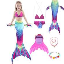 Girls Slim Princess Mermaid Tail Swimmable Bathing Dress And Bikini Set Little Mermaid Costume Party Performance Cosplay(China)