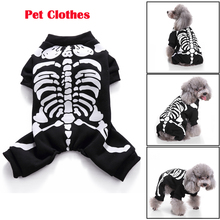 Halloween Pet Dog Clothes Costume Black Horror Skeleton For Chihuahua Clothing Funny Puppy D35