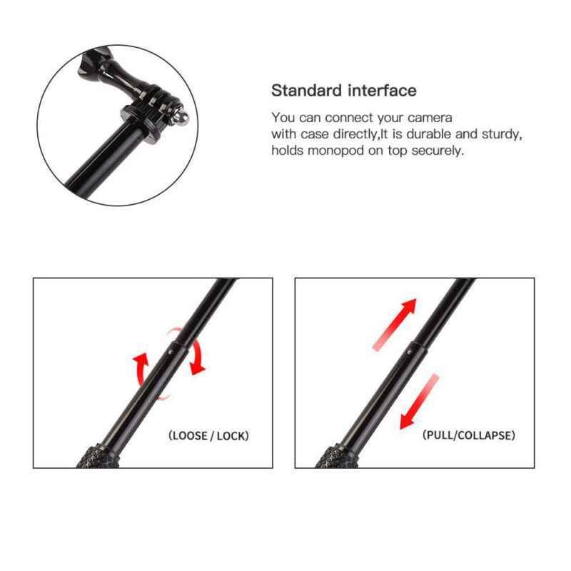 Monopié de aluminio portátil para GoPro Hero 6 5 7 4 negro plata sesión Sjcam Sj7 Yi 4K Cámara de Acción Selfie Stick para Go Pro