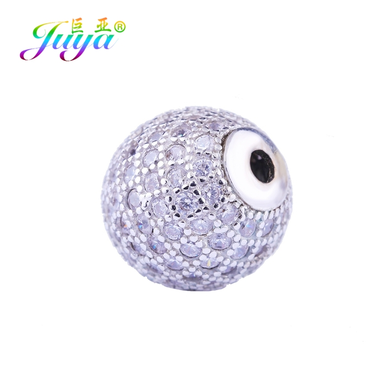 Juya Micro Pave Zircon 5 6 <font><b>8</b></font> 10 12 <font><b>13</b></font> 14mm Metal Disco Ball Charm Beads DIY Natural Stones Needlwork Beads Jewelry Handmade image