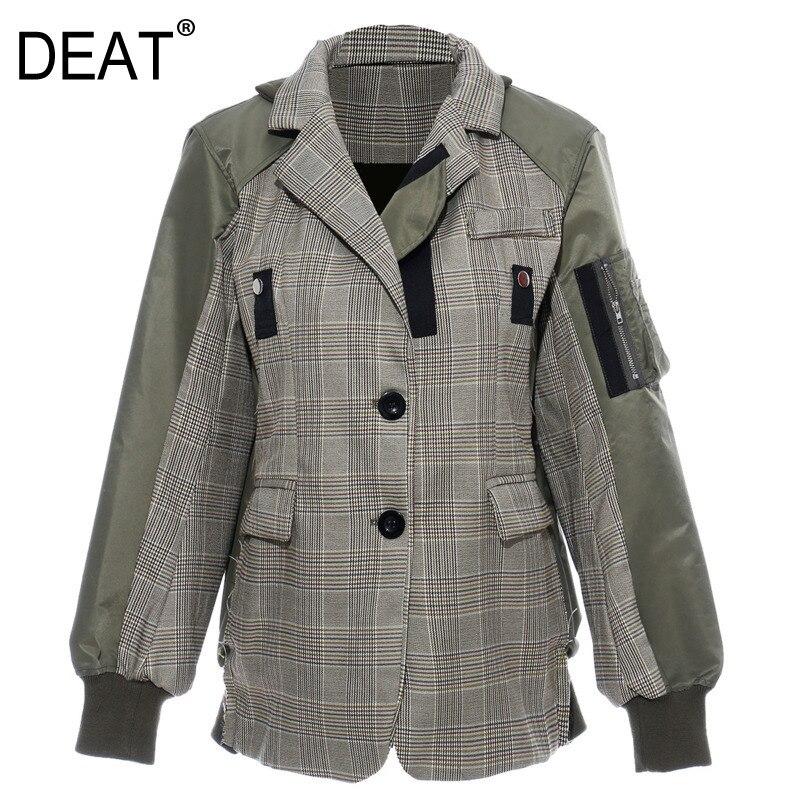 DEAT 2019 automne et hiver nouveaux produits mode couture Plaid revers bouton lanterne à manches longues veste PA205