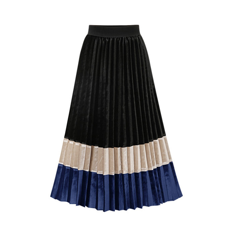 Autumn Coloured Velvet Pleated Skirt Women 2019 High Waist Midi Womens Skirts Female Faldas Largas Mujer Para Fiesta