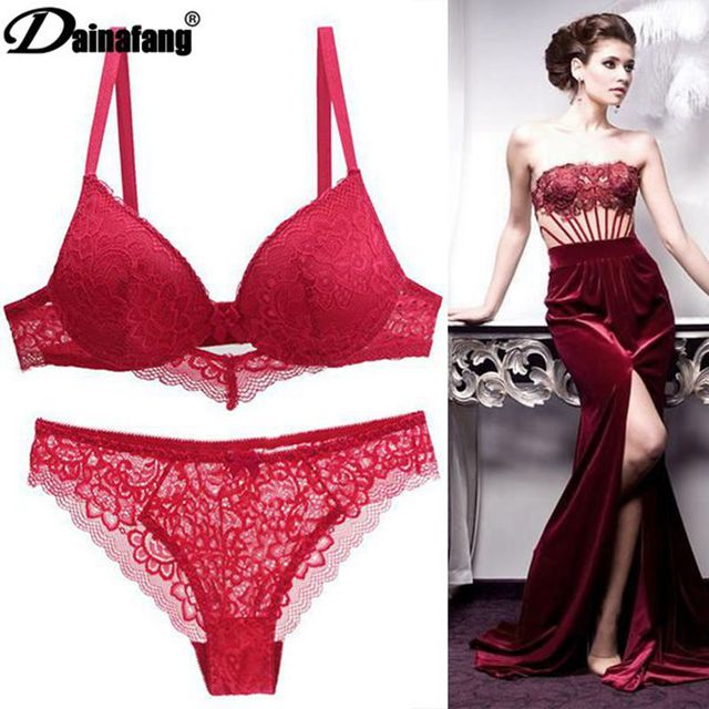 [Hot sales] New 2020 Lace Drill Bra Set Women Plus Size Push Up Underwear Set Bra And Thong Set 34 36 38 40 42BCD Cup For Female 2