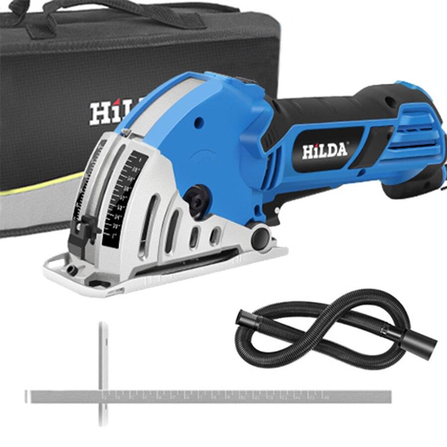 HILDA Mini scie circulaire électrique bricolage scie électrique multifonctionnelle outils électriques outil rotatif lames de scie circulaire pour bois