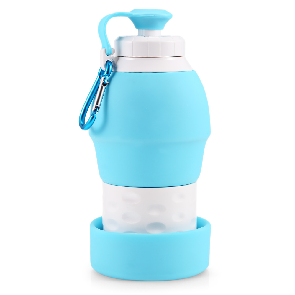 H46c86b28e0c84afb94c096e0ceae6399i 500ML Portable Silicone Water Bottle Retractable Folding Coffee Bottle Outdoor Travel Drinking Collapsible Sport Drink Kettle
