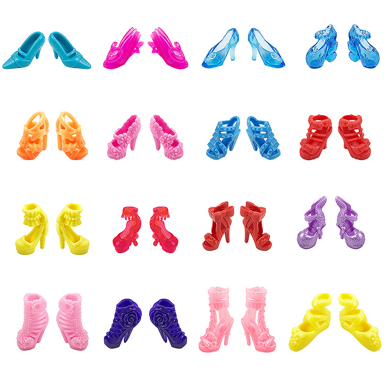 10Pairs/lot Colorful Mixed Style Sandals High Heels Shoes For Mini Toy Shoes Doll For Cloth Handmade Doll Accessories Random