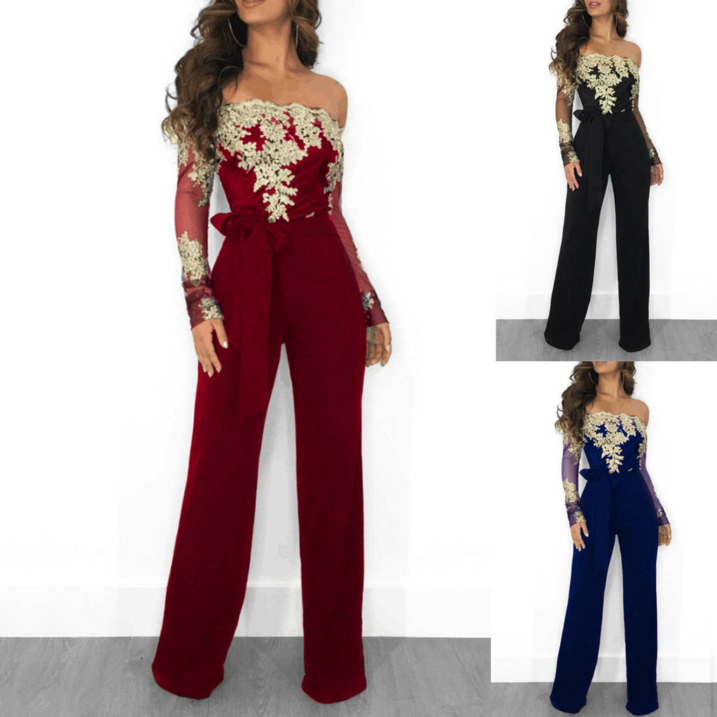 Women's Jumpsuit Ladies Casual Lace Belt Long Sleeve Off Shoulder Lace Up Jumpsuit Female Patchwork Wide Leg Romper Autumn