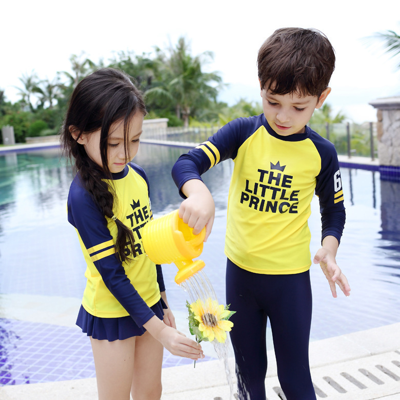 2016 Korean-style New Style KID'S Swimwear Men And Women Children Long Sleeve Sun-resistant Two-piece Swimsuits Lettered Quick-D