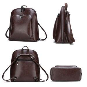 Image 3 - 2019 nouveau femmes Vintage sac à dos marque luxueux en cuir femmes sac à bandoulière grande capacité sac décole pour fille loisirs Backpac
