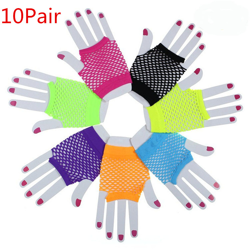 10Pairs Punk Goth Women Summer Net Gloves Without Fingers Lady Disco Dance Costume Lace Fingerless Mesh Fishnet Gloves