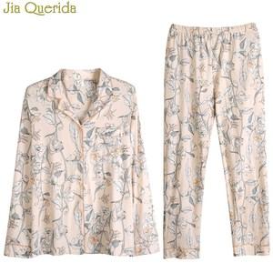 Image 5 - Floral Female Pajamas 2020 Spring Fall Long Sleeves Pajamas Set 2 Pcs 100% Cotton Sleeping Suit Loungewear Home Suit for Women