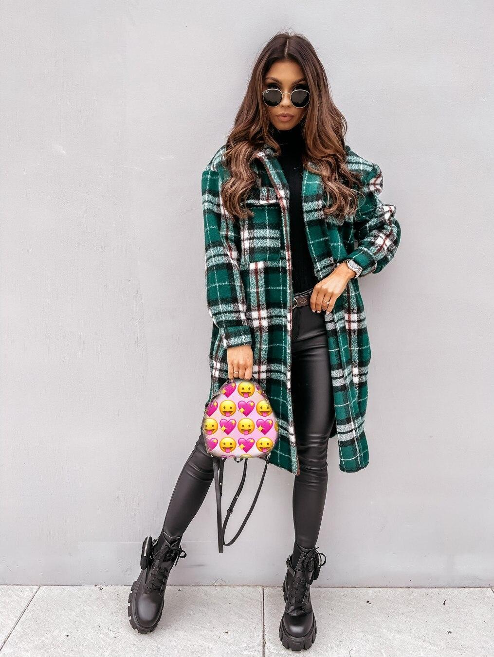 2021 New Harejuku Plaid Jacket Women's Casual Loose Plus Size Blend Coat Long Sleeve Warm Trench Coat Female Chic Tops Overcoat