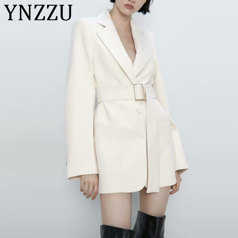 YNZZU New Spring Autumn Elegant Blazer Women Solid Long Style Belt Office Lady Workwear Coat Notched Collar Female Outwear A1209