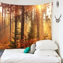 цена на Beautiful Tree Print Wall Hanging Tapestry Forest Waterfall Scenery Beach Tapestries Mural Carpet Bedroom Decoration