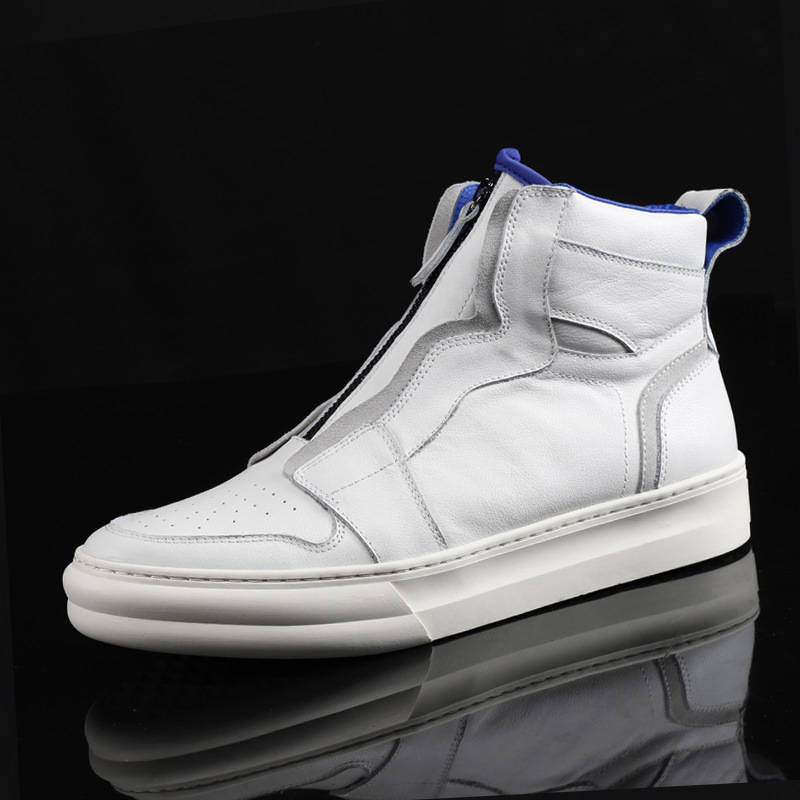 Korean White Genuine Leather Hip Hop Shoes Men Fashion Zipper Ankle Length Leather Shoes Male Winter Warm High Quality Sneakers