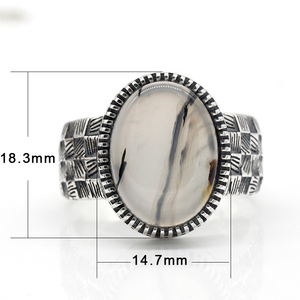 Image 2 - 925 Sterling Silver Men Ring with Big Natural Onyx Stone Vintage Weave Style Thai Silver Ring for Men Women Turkish Jewelry