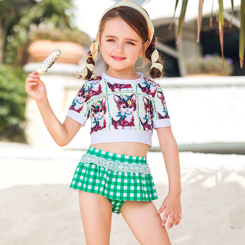 2019 New Style CHILDREN'S Cartoon Bathing Suit Cute Kitten Short Sleeve Short Skirt Children Bikini Tour Bathing Suit