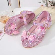 New Frozen Princess Kids Leather Sandals for Girls Bow Casual Shoes Glitter Children High Heel Girls Elsa Sandals Butterfly Knot
