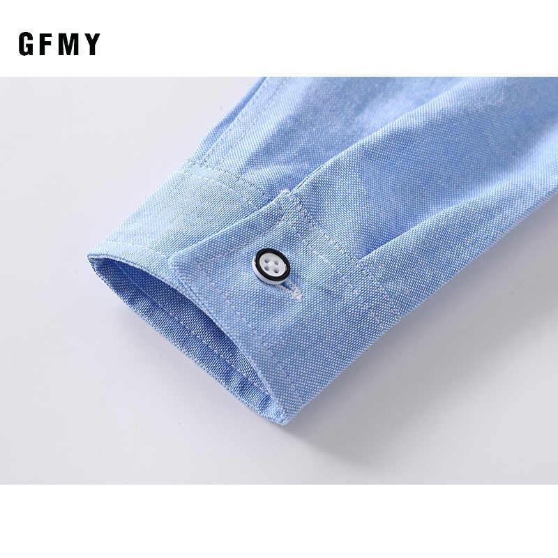 GFMY 2020 春の新作秋オックスフォードテキスタイルフルスリーブソリッドカラーブルー男の子白シャツ 3 T-14 T 子供カジュアル学校の服