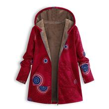 Womens Casual Winter Coat jacket Warm velvet Outwear Floral Print Hooded Pockets