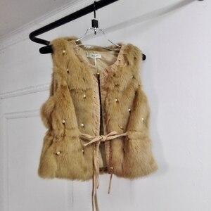 Image 4 - MUMUZI ผู้หญิงของแท้กระต่ายจริงขนเสื้อ Slim เอวลูกปัดเสื้อกั๊กสั้น GILET เสื้อโค้ทกับ Tassels Raccoon FUR COLLAR