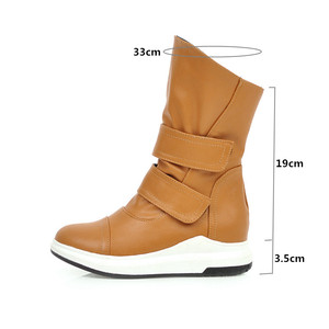 Image 2 - YMECHIC Fashion Mid Long Shaft Wedges Womens Boots Yellow Black Blue Winter Shoes Woman Hook Loop Knight Riding Boots Female