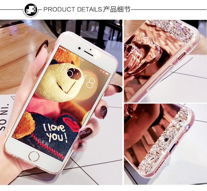 H46c9623dae96431f9199ef6338b524c8I Crystal Phone Case For iPhone 11 Pro Max Diamond Luxury Cover For iPhone 7 8 6 6s Plus Rhinestone Mirror For iPhone XS XR Xs Max