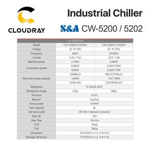 Image 5 - Cloudray S&A CW5200 CW5202 Industry Air Water Chiller  for CO2 Laser Engraving Cutting Machine Cooling 150W Laser Tube