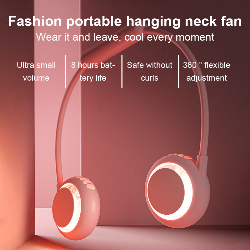360 Degree Foldable USB Fan Rechargeable Neckband Fan For Outdoor Office Sport Hand Free Mini Neck Double Fan 3 Speed Adjustable