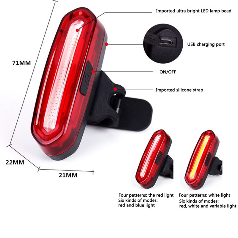 1 Pcs Bike Light, LED Safety Warning Light, Riding Light, USB Charging Bicycle Taillight Bicycle Accessories