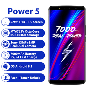 "Image 2 - LEAGOO الطاقة 5 الهاتف الذكي 5.99 ""FHD + 18:9 RAM 6GB ROM 64GB الروبوت 8.1 MT6763 الثماني النواة 7000mah المزدوج الخلفية الحدب 4G الهاتف المحمول"