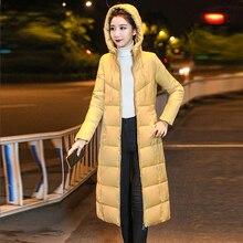 Korean Long Down Coats Women Winter Casual Plus Size Zipper Hooded M-6XL Jacket Ladies Officewear Thicken Fashion Outerwear