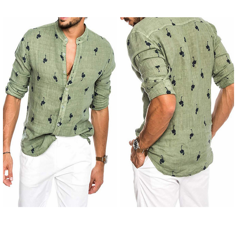 Men's Caual Hawaiian Shirts  Flamingo Pattern Print Long Sleeve Stand Collar Men Shirt Tops M-3XL Loose Men's Breathable Shirt